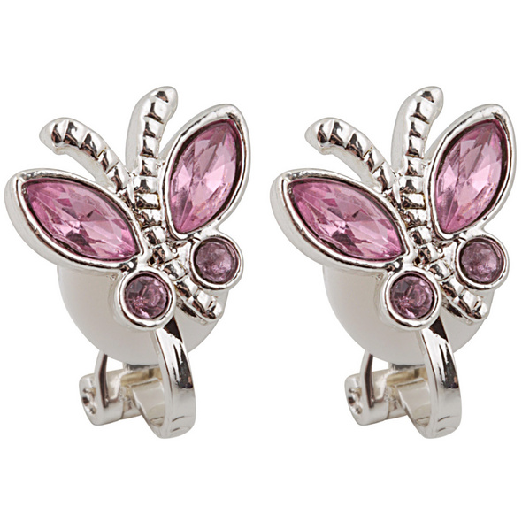 Kinder Ohrclips - butterfly / Rosa